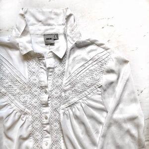 ASOS Semi-Sheer White Long Sleeve Button Up